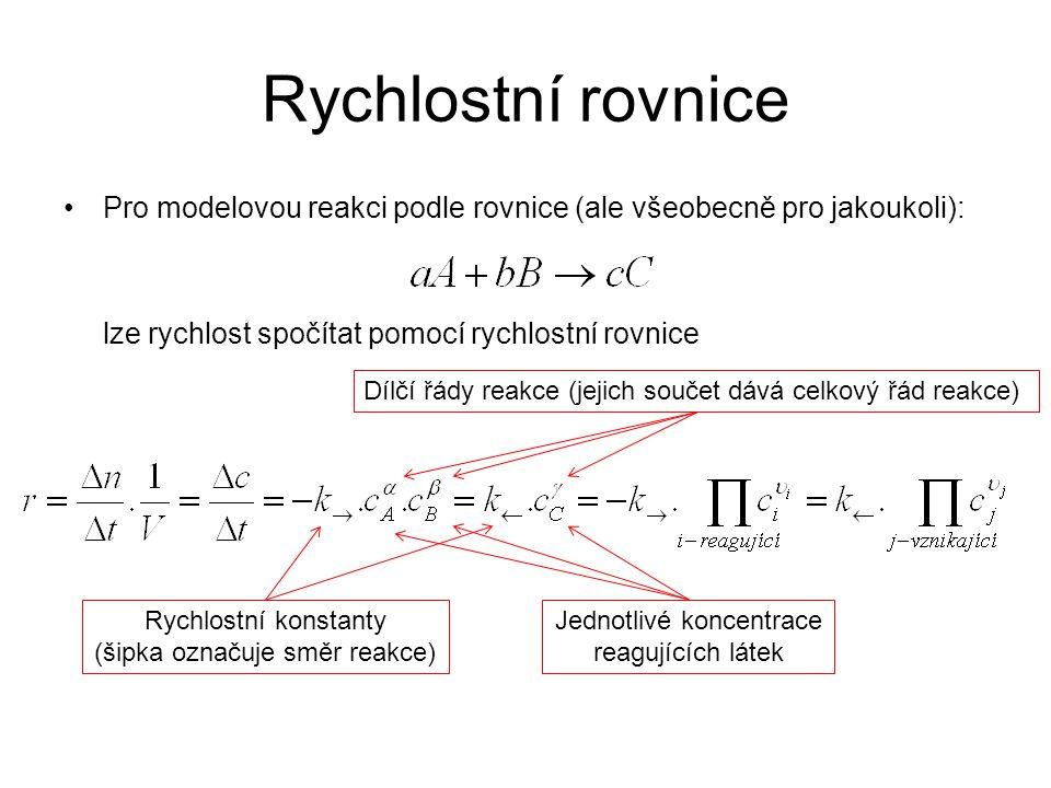 Rychlostní rovnice Pro modelovou reakci podle rovnice (ale všeobecně pro jakoukoli): lze rychlost spočítat pomocí rychlostní rovnice.