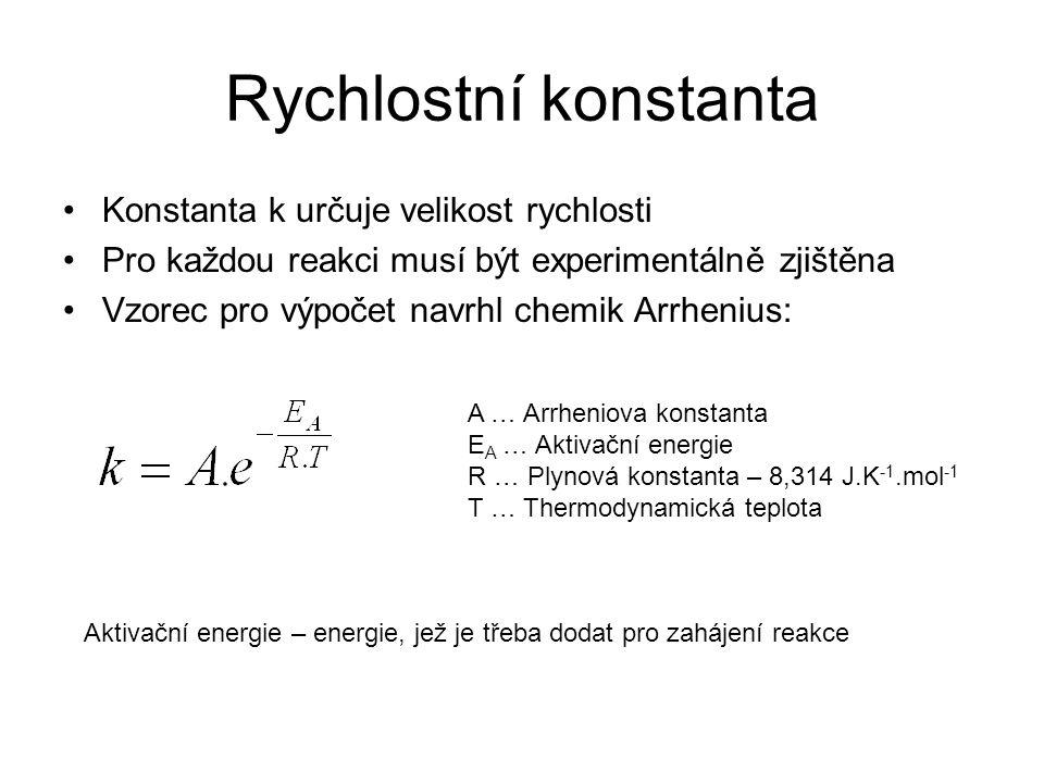 Rychlostní konstanta Konstanta k určuje velikost rychlosti