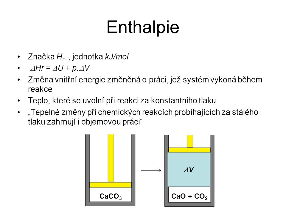 Enthalpie Značka Hr. , jednotka kJ/mol DHr = DU + p.DV