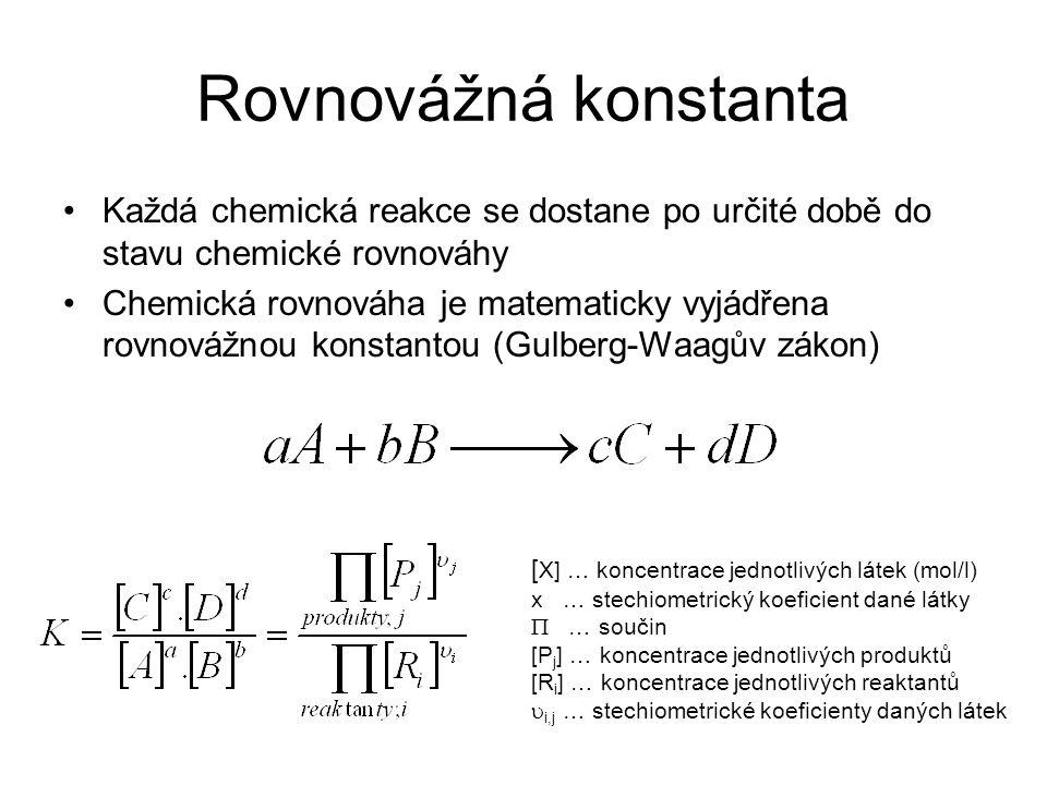 Rovnovážná konstanta Každá chemická reakce se dostane po určité době do stavu chemické rovnováhy.