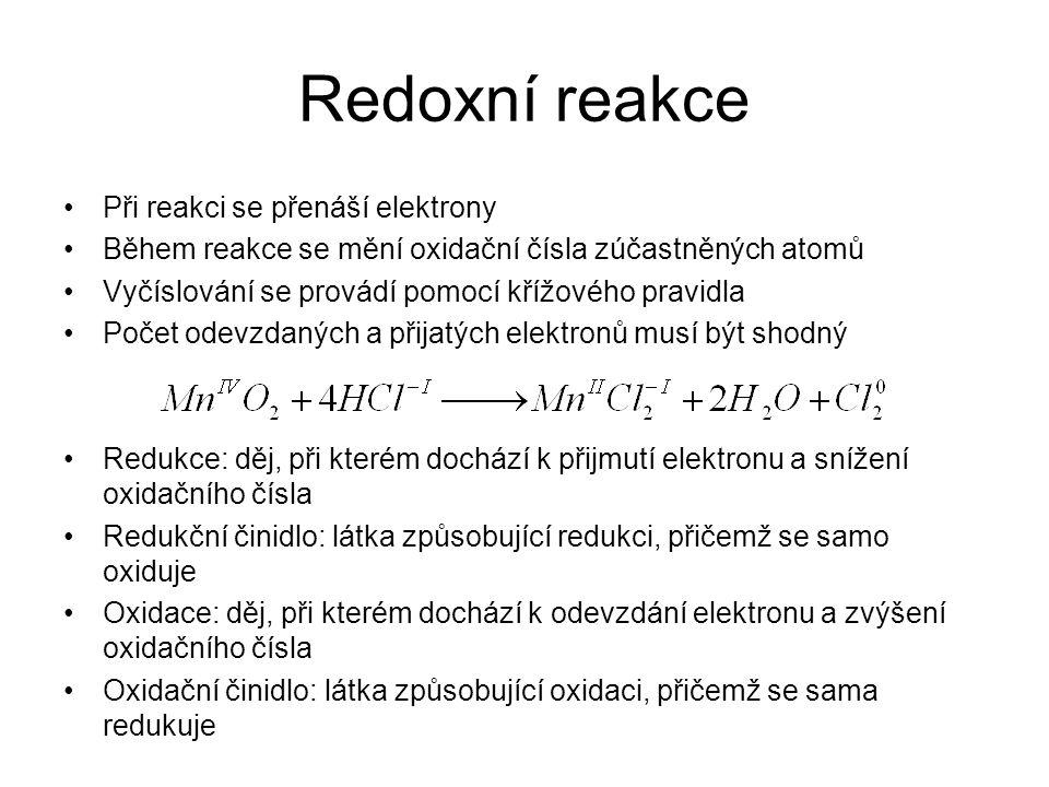 Redoxní reakce Při reakci se přenáší elektrony