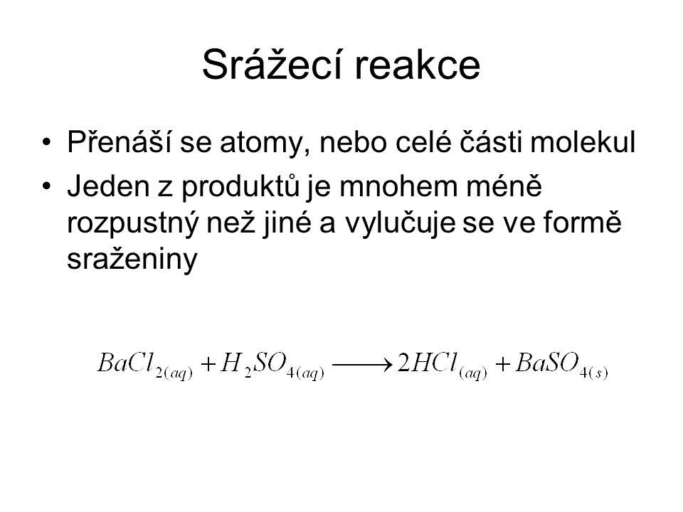 Srážecí reakce Přenáší se atomy, nebo celé části molekul