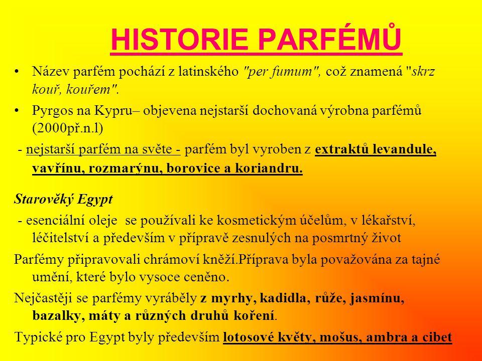 HISTORIE PARFÉMŮ Název parfém pochází z latinského per fumum , což znamená skrz kouř, kouřem .