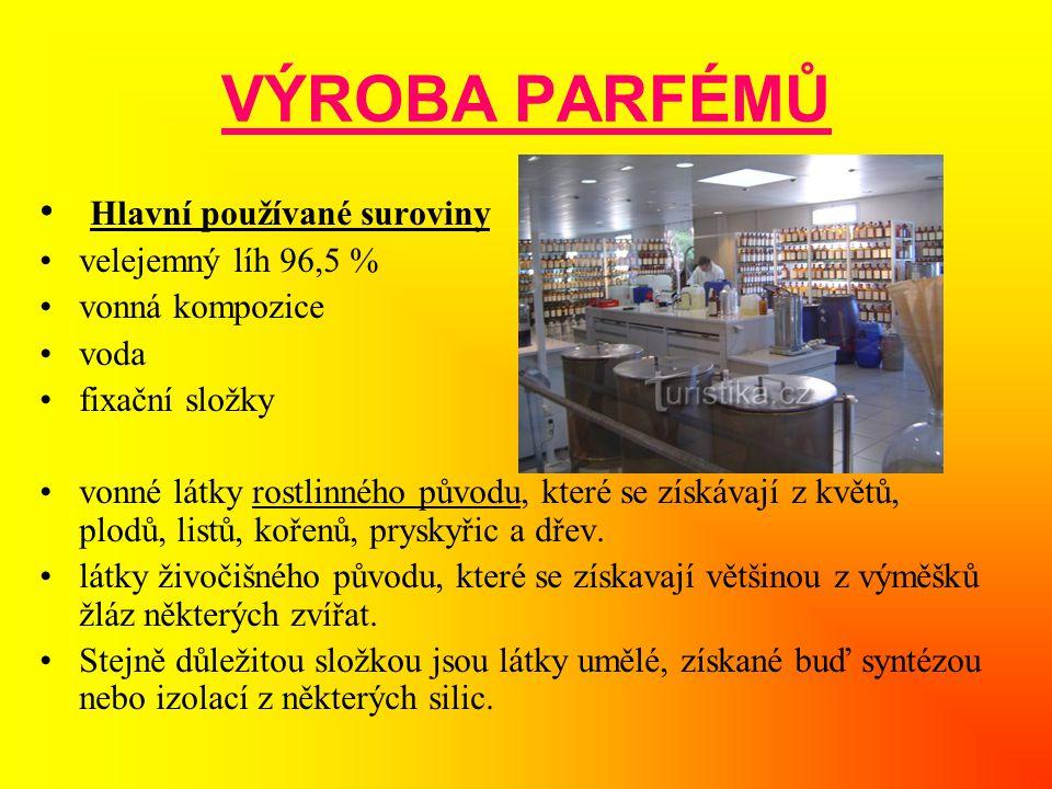 VÝROBA PARFÉMŮ Hlavní používané suroviny velejemný líh 96,5 %