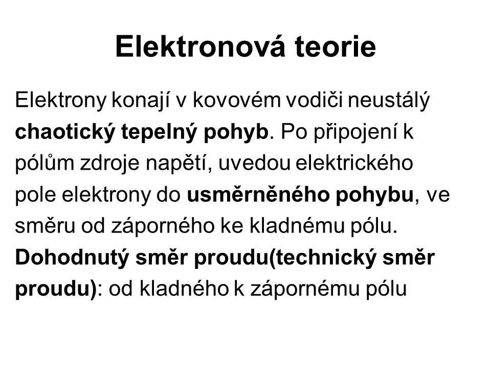 Elektronová teorie Elektrony konají v kovovém vodiči neustálý