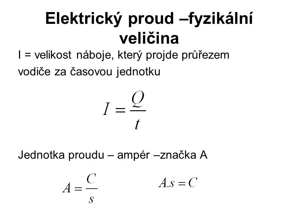 Elektrický proud –fyzikální veličina