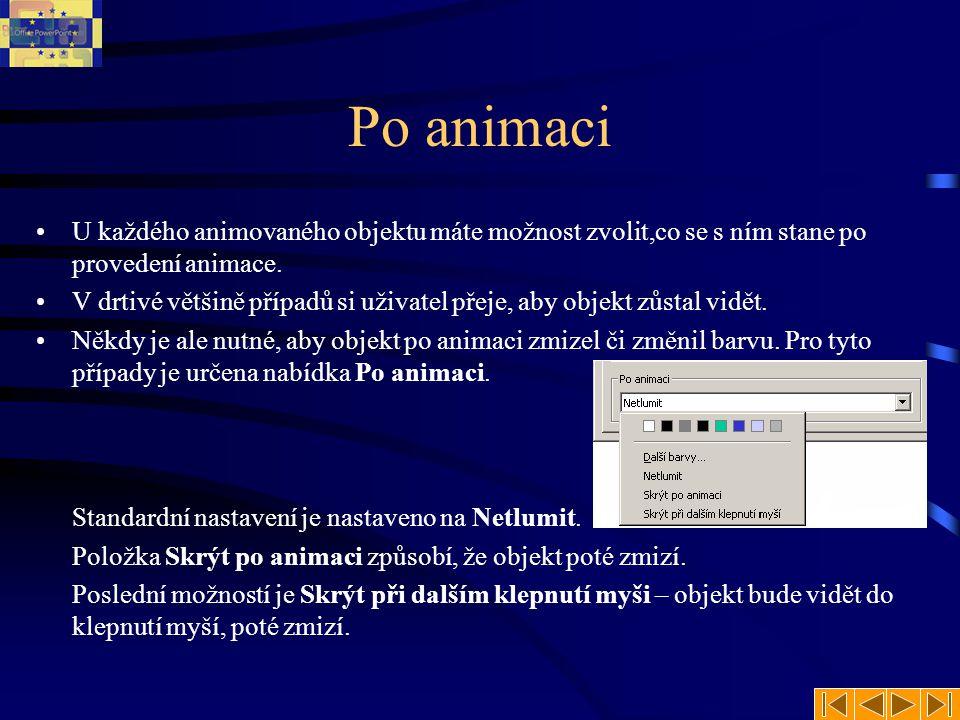 Po animaci U každého animovaného objektu máte možnost zvolit,co se s ním stane po provedení animace.