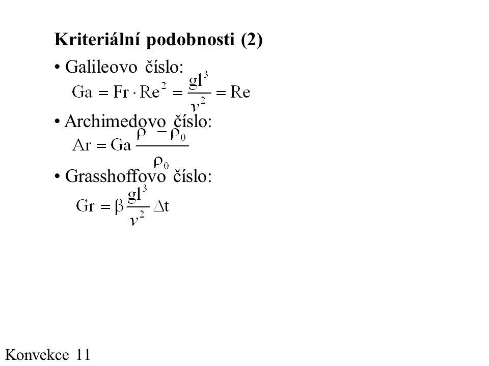 Kriteriální podobnosti (2) Galileovo číslo: Archimedovo číslo: