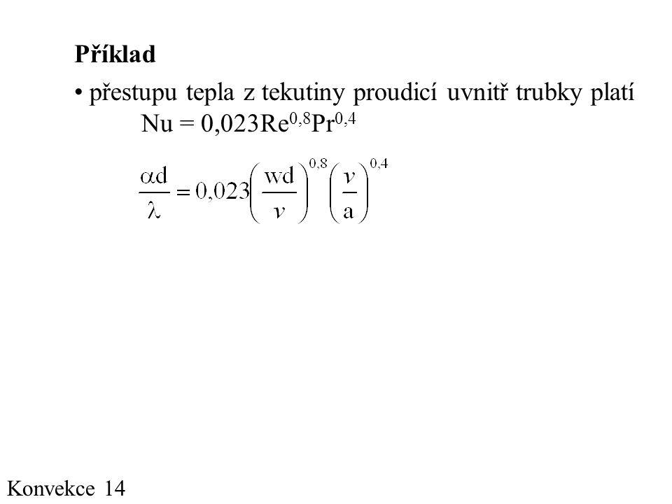 Příklad přestupu tepla z tekutiny proudicí uvnitř trubky platí Nu = 0,023Re0,8Pr0,4 Konvekce 14
