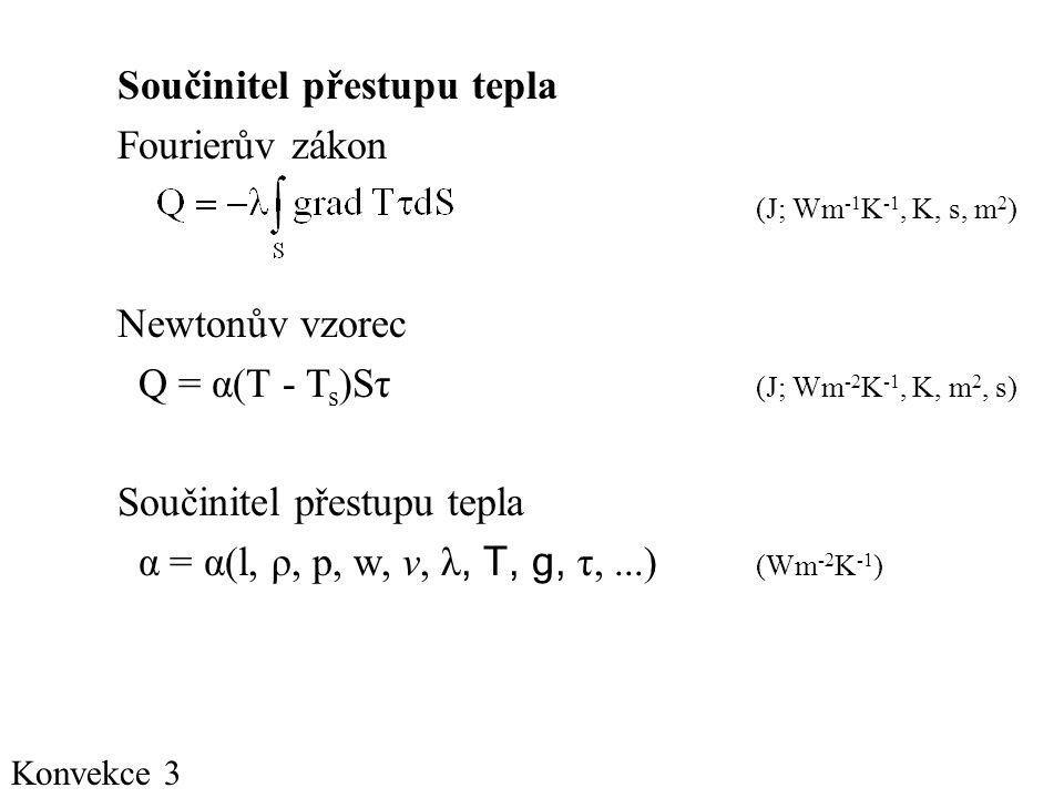 Součinitel přestupu tepla Fourierův zákon (J; Wm-1K-1, K, s, m2)