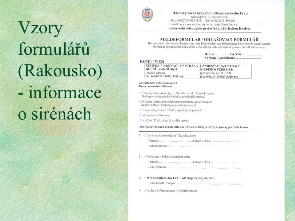 Vzory formulářů (Rakousko) - informace o sirénách