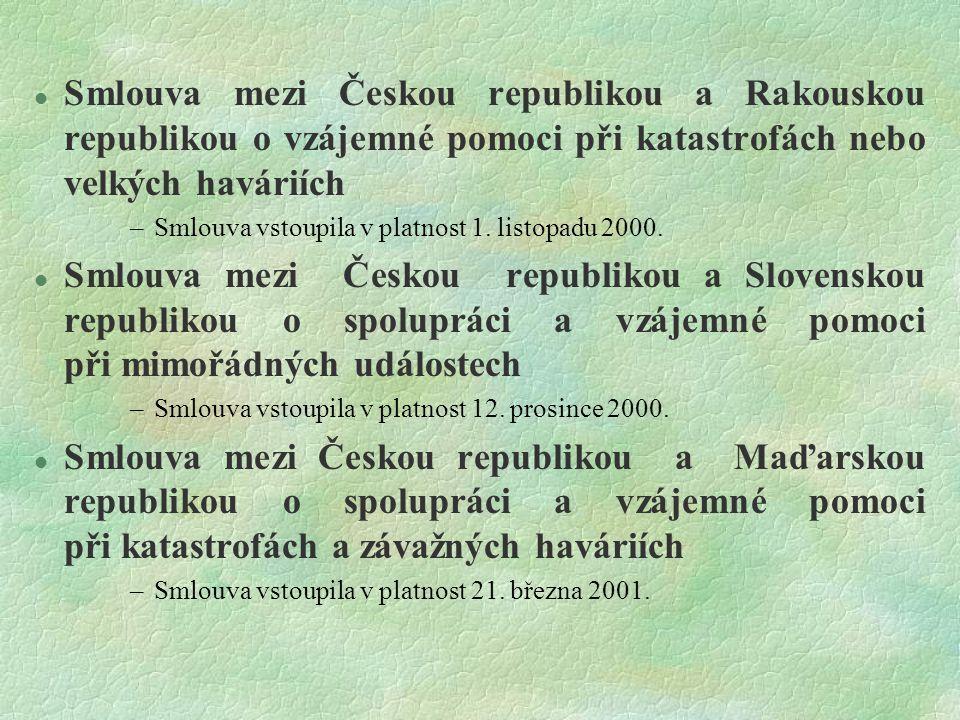 Smlouva mezi Českou republikou a Rakouskou republikou o vzájemné pomoci při katastrofách nebo velkých haváriích