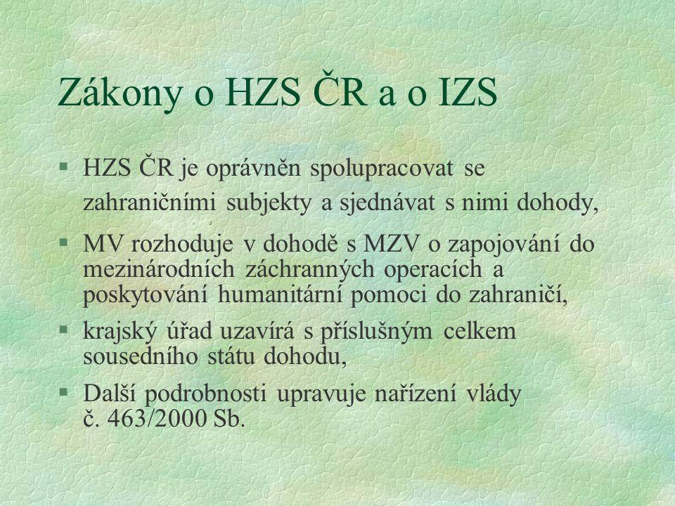 Zákony o HZS ČR a o IZS HZS ČR je oprávněn spolupracovat se zahraničními subjekty a sjednávat s nimi dohody,