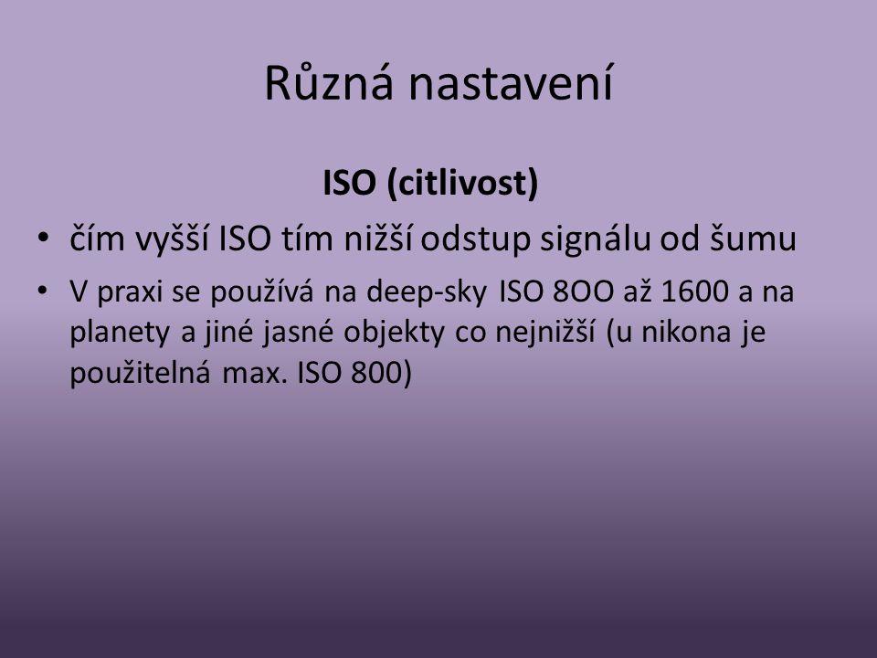 Různá nastavení ISO (citlivost)