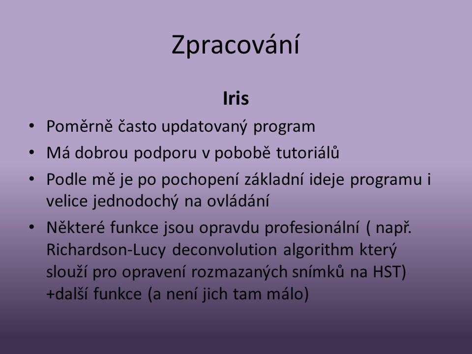 Zpracování Iris Poměrně často updatovaný program