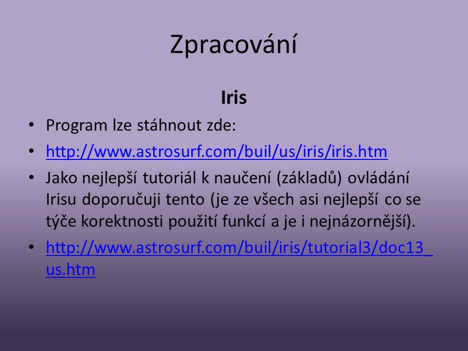 Zpracování Iris Program lze stáhnout zde: