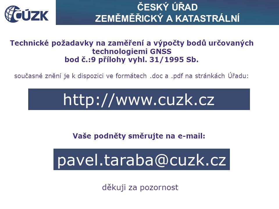 http://www.cuzk.cz pavel.taraba@cuzk.cz ČESKÝ ÚŘAD