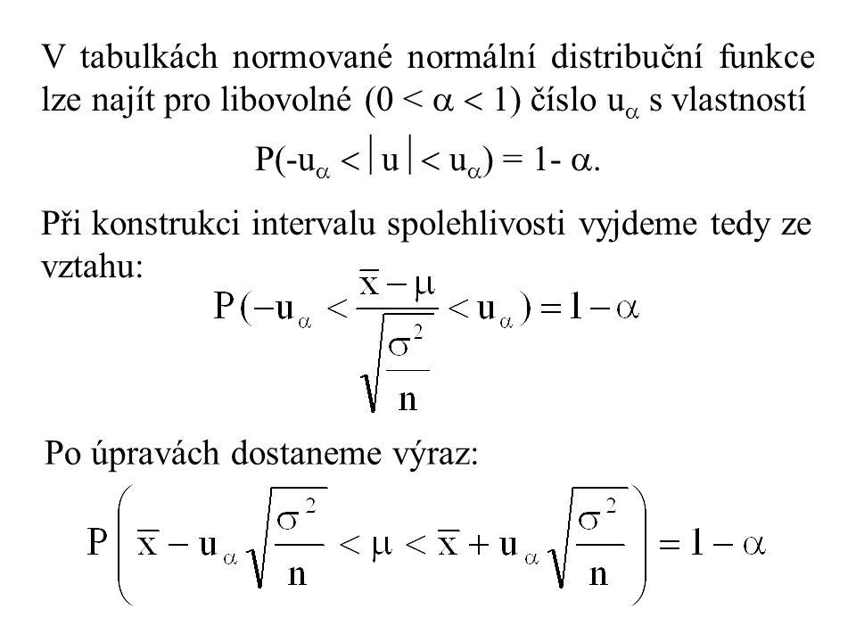 V tabulkách normované normální distribuční funkce lze najít pro libovolné (0 <   1) číslo u s vlastností