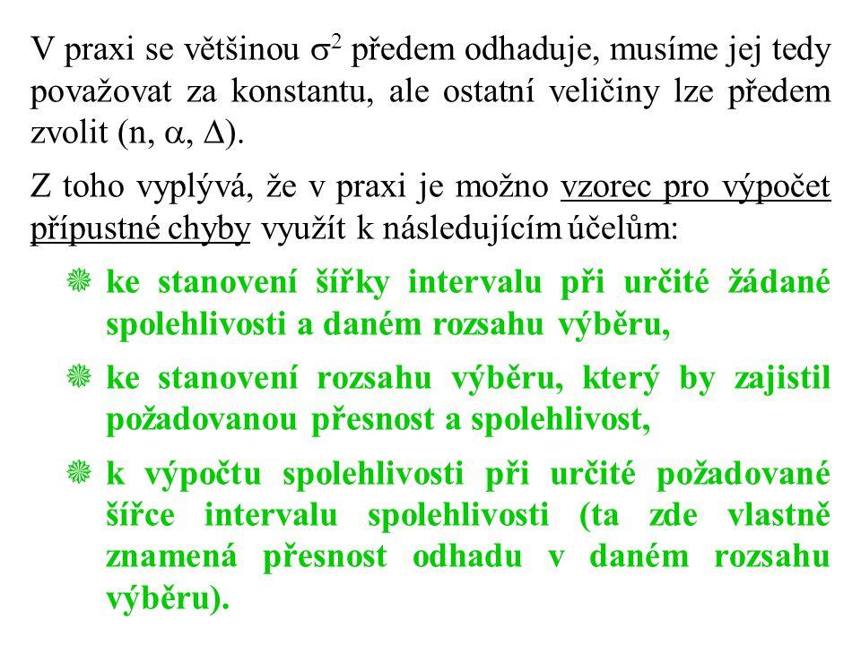 V praxi se většinou 2 předem odhaduje, musíme jej tedy považovat za konstantu, ale ostatní veličiny lze předem zvolit (n, , ).