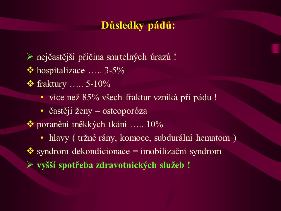 Důsledky pádů: nejčastější příčina smrtelných úrazů !