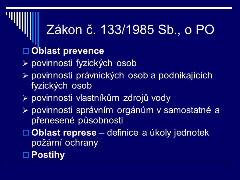 Zákon č. 133/1985 Sb., o PO Oblast prevence povinnosti fyzických osob