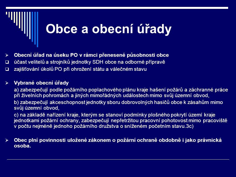 Obce a obecní úřady Obecní úřad na úseku PO v rámci přenesené působnosti obce. účast velitelů a strojníků jednotky SDH obce na odborné přípravě.