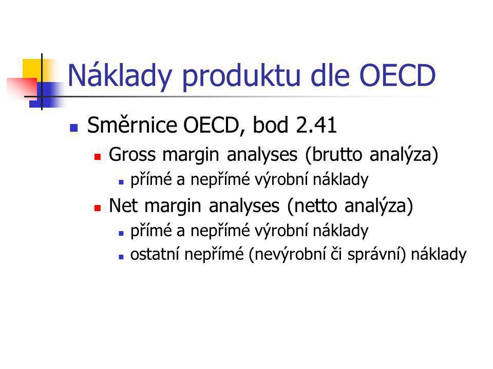 Náklady produktu dle OECD