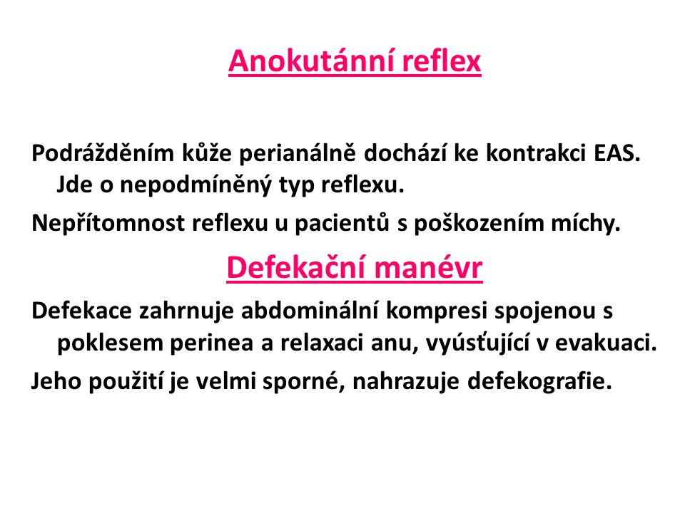 Anokutánní reflex Defekační manévr