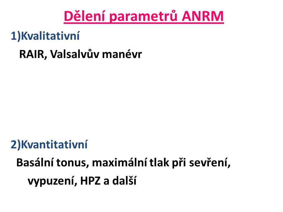 Dělení parametrů ANRM 1)Kvalitativní RAIR, Valsalvův manévr