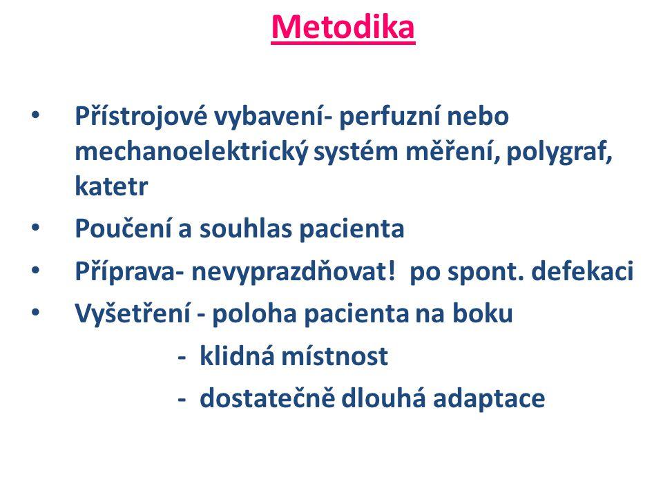 Metodika Přístrojové vybavení- perfuzní nebo mechanoelektrický systém měření, polygraf, katetr. Poučení a souhlas pacienta.