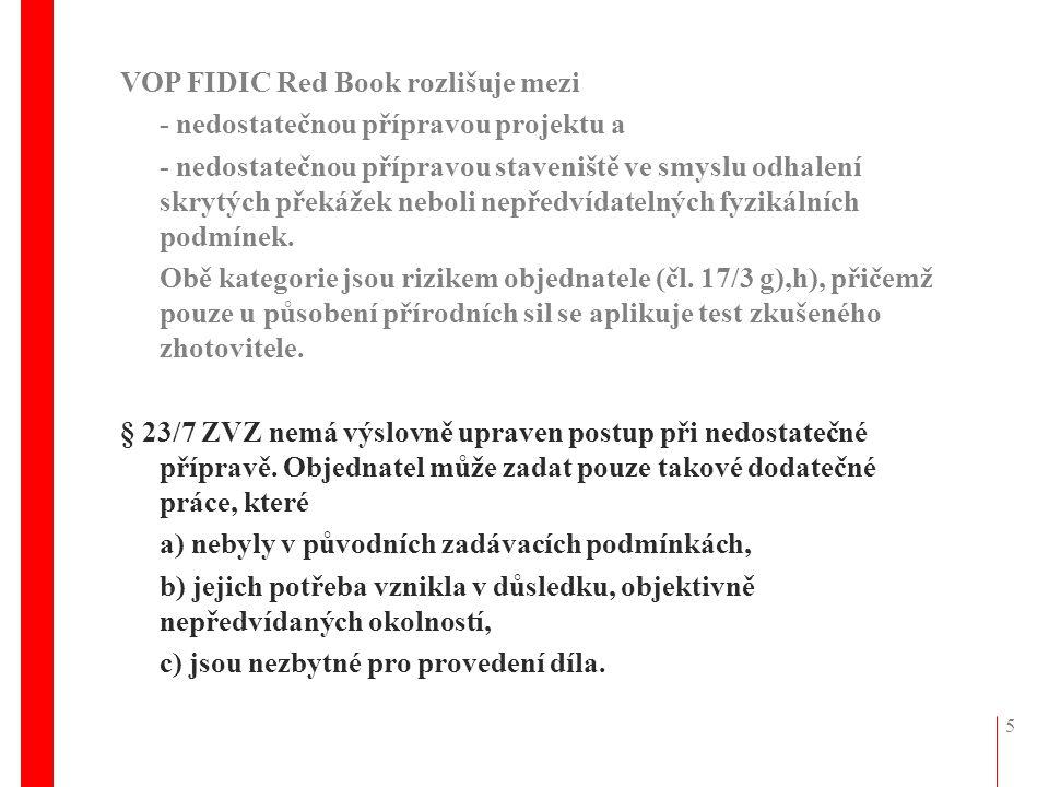 VOP FIDIC Red Book rozlišuje mezi
