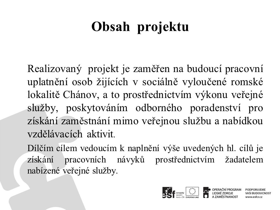Obsah projektu