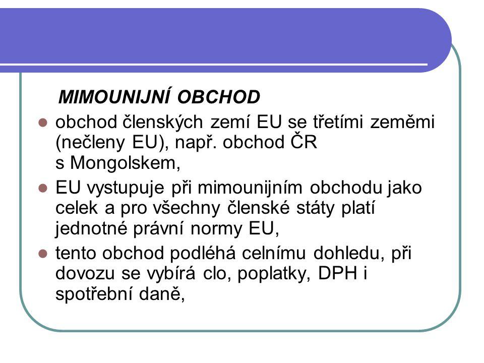 MIMOUNIJNÍ OBCHOD obchod členských zemí EU se třetími zeměmi (nečleny EU), např. obchod ČR s Mongolskem,