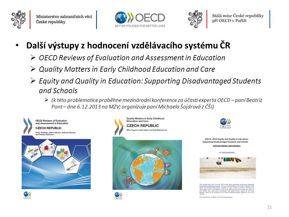 Další výstupy z hodnocení vzdělávacího systému ČR