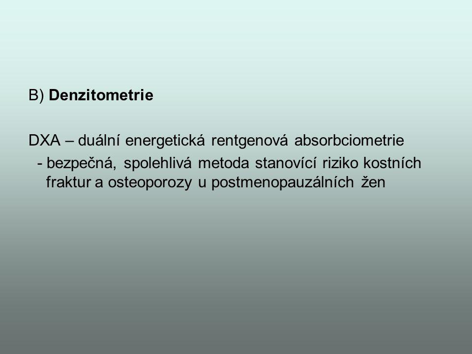 B) Denzitometrie DXA – duální energetická rentgenová absorbciometrie.