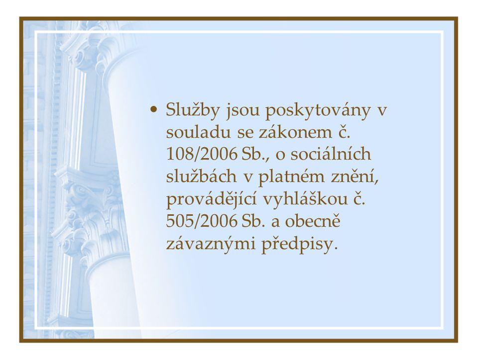 Služby jsou poskytovány v souladu se zákonem č. 108/2006 Sb