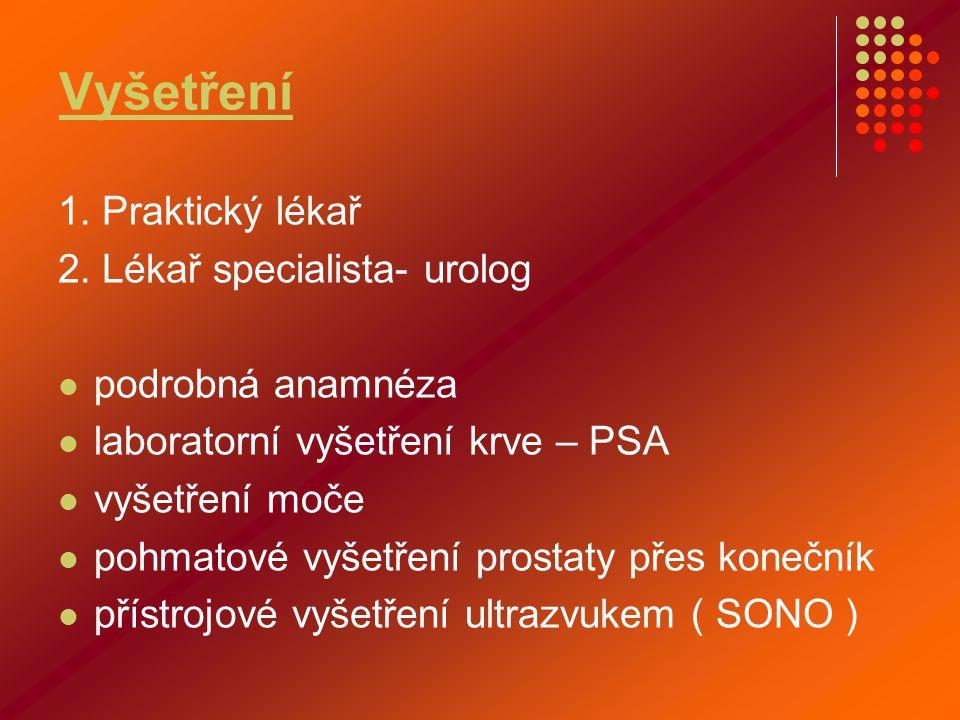 Vyšetření 1. Praktický lékař 2. Lékař specialista- urolog