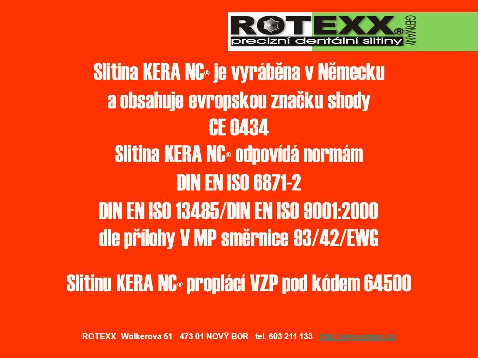 Slitinu KERA NC® proplácí VZP pod kódem 64500