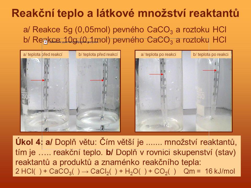Reakční teplo a látkové množství reaktantů