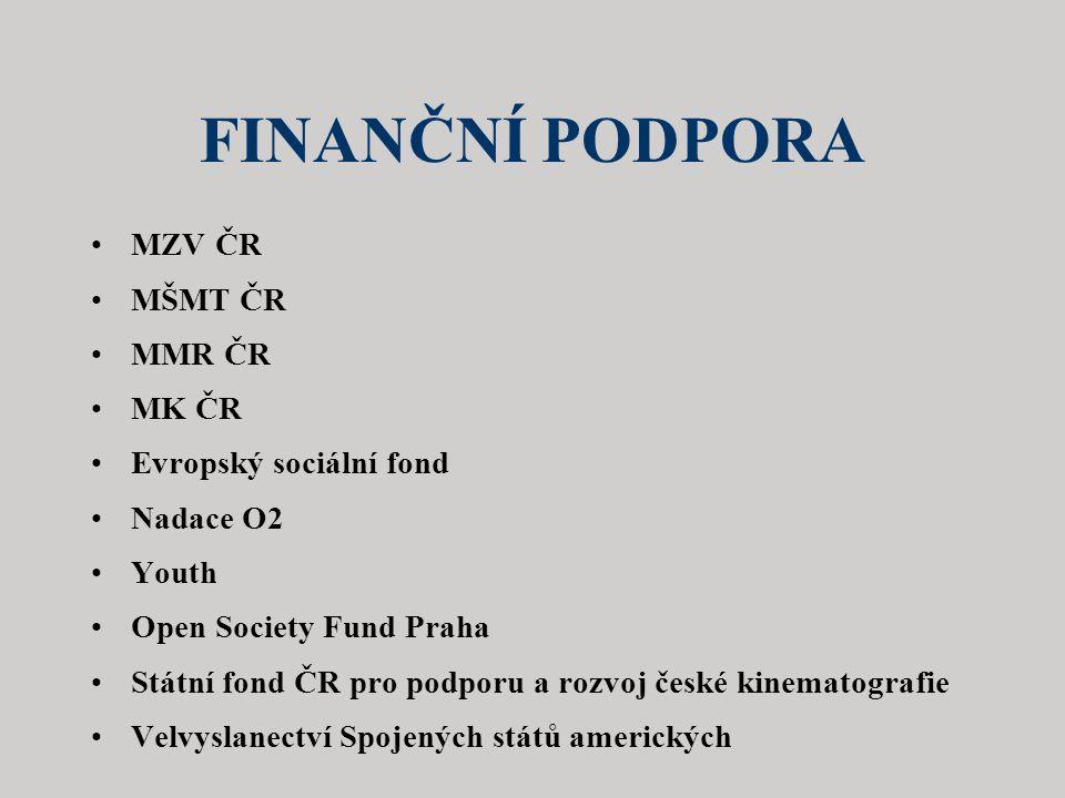 FINANČNÍ PODPORA MZV ČR MŠMT ČR MMR ČR MK ČR Evropský sociální fond
