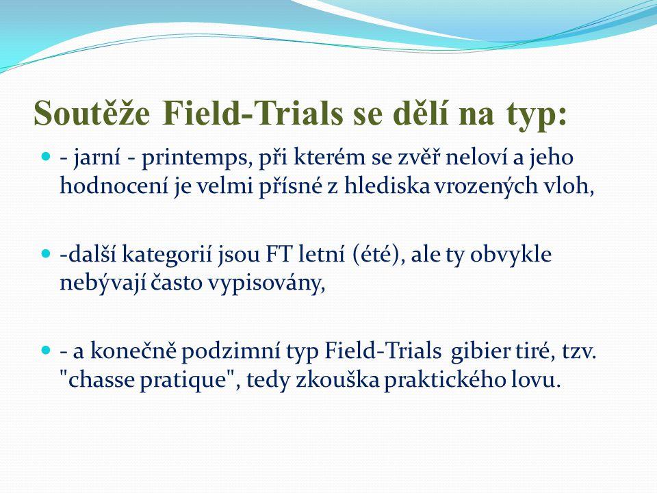 Soutěže Field-Trials se dělí na typ: