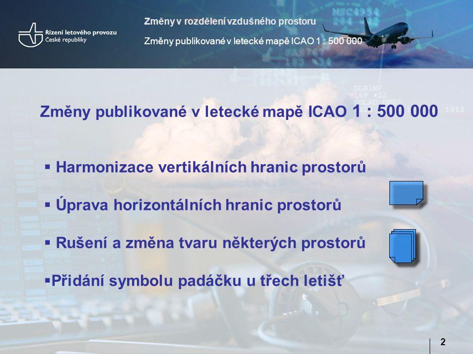 Změny publikované v letecké mapě ICAO 1 : 500 000