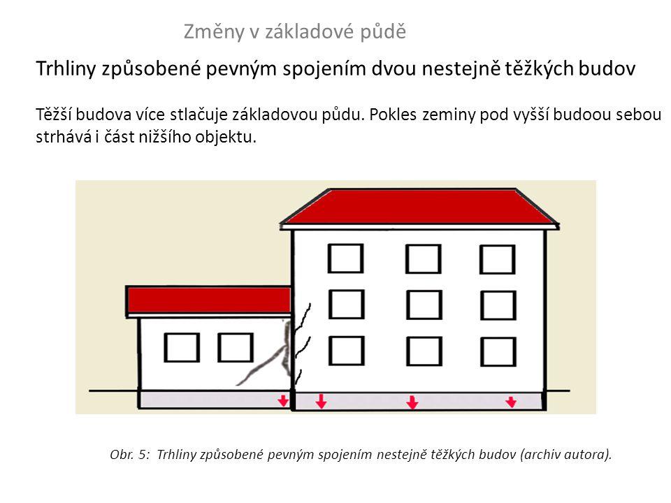 Trhliny způsobené pevným spojením dvou nestejně těžkých budov