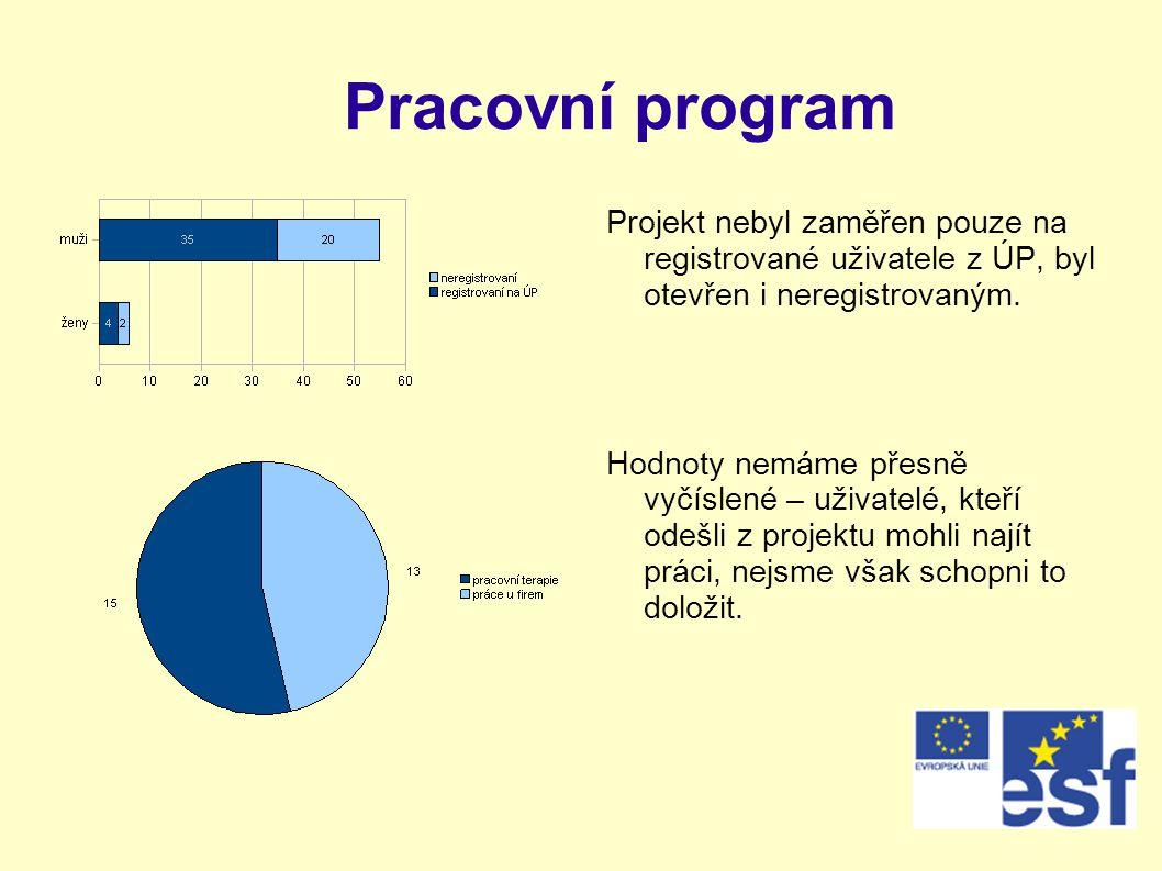 Pracovní program Projekt nebyl zaměřen pouze na registrované uživatele z ÚP, byl otevřen i neregistrovaným.
