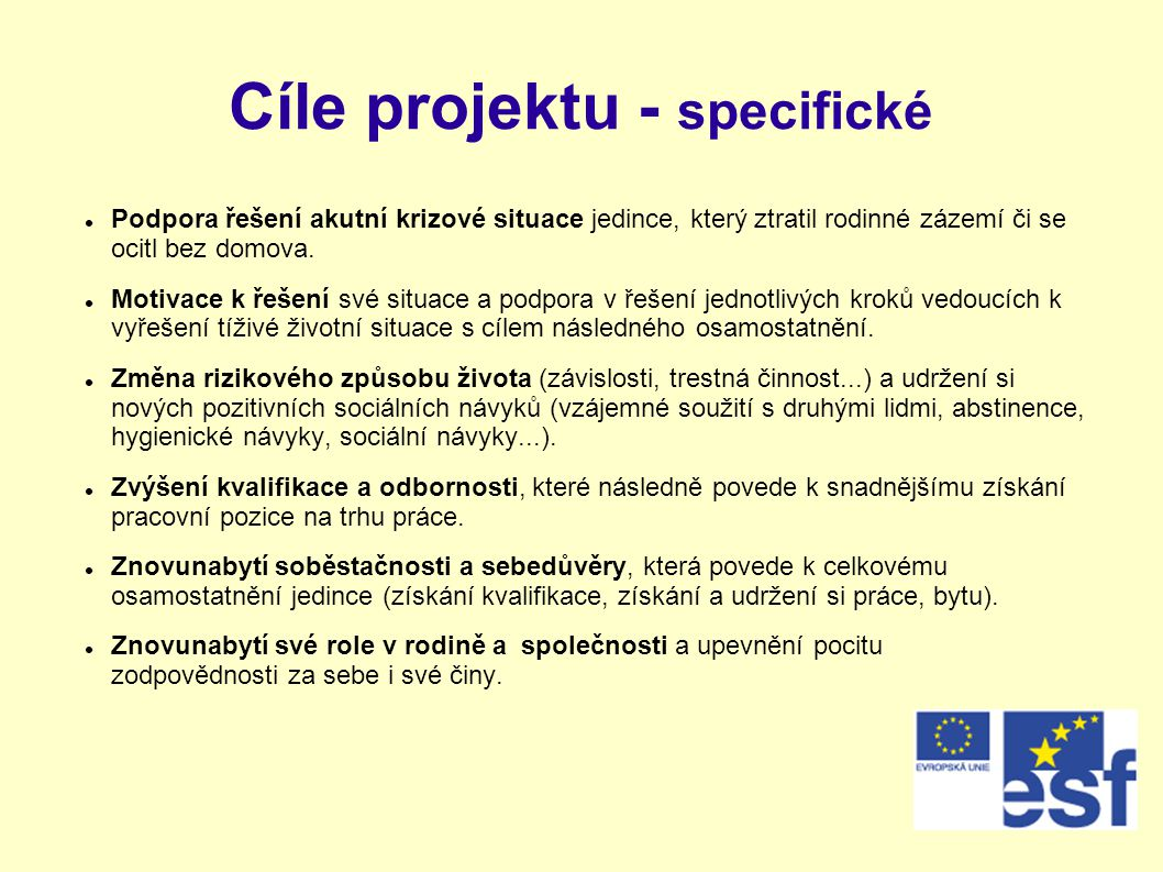 Cíle projektu - specifické