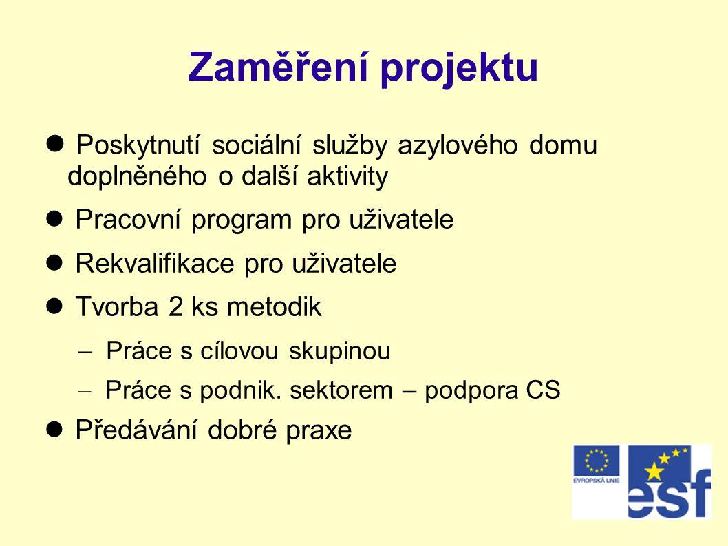 Zaměření projektu Poskytnutí sociální služby azylového domu doplněného o další aktivity. Pracovní program pro uživatele.