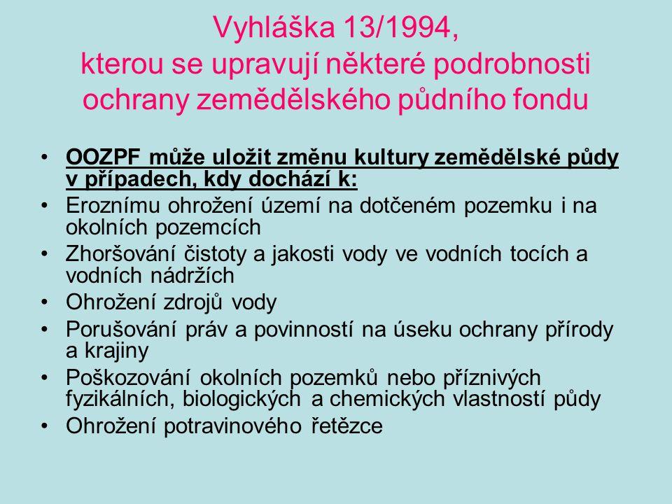 Vyhláška 13/1994, kterou se upravují některé podrobnosti ochrany zemědělského půdního fondu