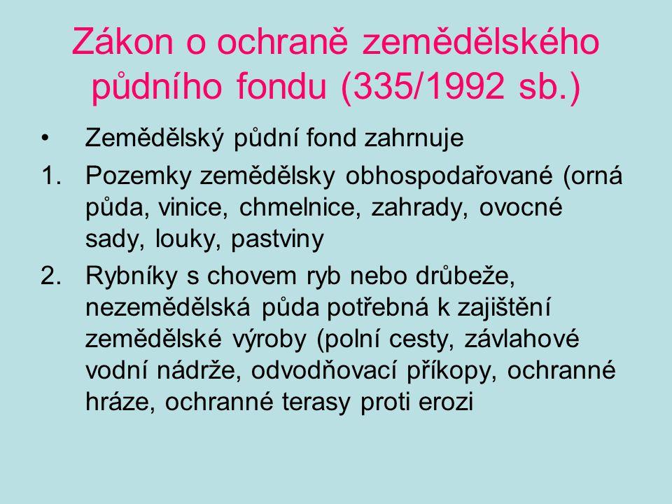 Zákon o ochraně zemědělského půdního fondu (335/1992 sb.)
