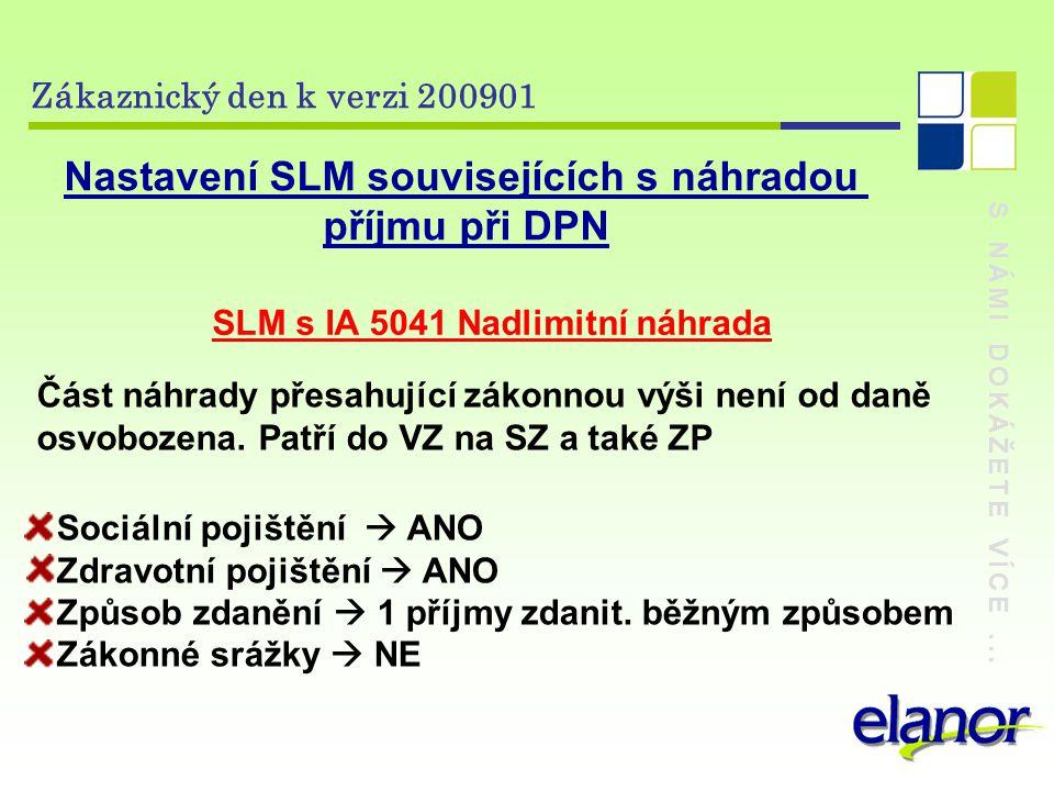 Nastavení SLM souvisejících s náhradou příjmu při DPN