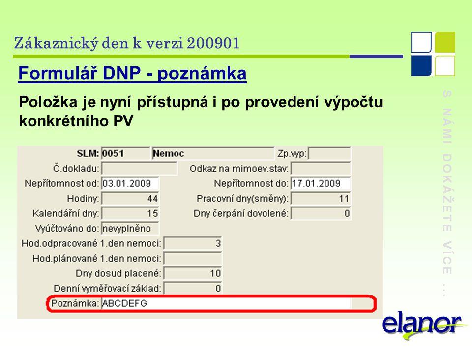 Formulář DNP - poznámka